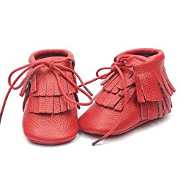 Voberry® Moccasins Tassel Shoes Firstwalker Boots Leather Shoes for Baby Toddler (6~12 Month, Red)