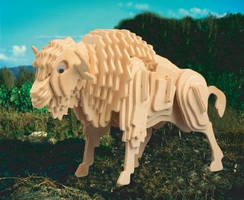 Puzzled Buffalo/Bison 3D Natural Wood Puzzle (54 Piece) - 1