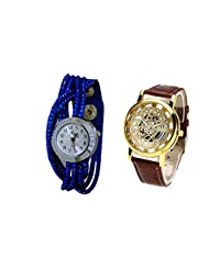 COSMIC COUPLE WATCH- BLUE ANALOG DESIGNER WATCH FOR WOMEN AND BROWN SKELETON WATCH FOR MEN