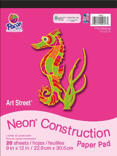"Art Street Neon Construction Paper Pad, 9""X12"", Assorted, 20 Sheets"