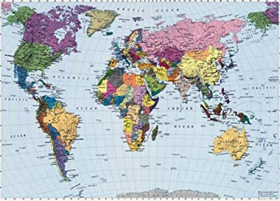 Map Of The World Photo Wallpaper Wall Mural by WallStickerWarehouse