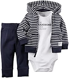Carter\'s Baby Boys\' 3 Piece Cardigan Set (Baby) - Navy Stripe - 3M