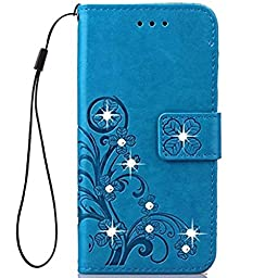 Superstart Beauty Luxury 3D Fashion Handmade Bling Crystal Rhinestone Butterfly Floral Lucky Flowers PU Flip Stand Credit Card ID Holders Wallet Leather Case Cover for Samsung Galaxy Note 5--Blue