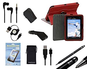 """Bundle Monster 9-in-1 Kindle Fire HD 7"""" Accessories Kit - 360 Swivel / Rotate Synthetic Leather Kickstand Case, Car/Wall Chargers, Retractable USB Cord, Stylus Pen, Screen Guard- Red"""