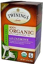 Twinings Organic Tea Green Jasmine 20 Count Bagged Tea Pack of 6