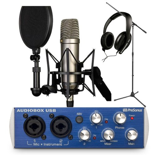 Rode Nt1-A Cardioid Condenser Microphone Recording Package With Presonus Audiobox Usb, Studio One Artist Recording Software, Sennheiser Hd 202-Ii Closed-Back Around-The-Ear Studio Headphones And A Tripod Base Microphone Floor Stand - Black