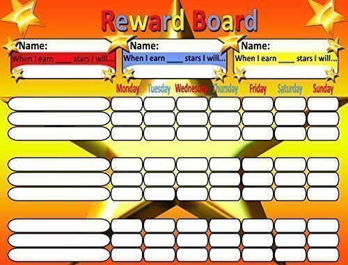 Magnetic Reward Chart for Motivating Children - with magnets or cord for hanging. Durable Board 12.5 X 16.5