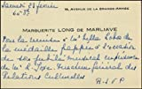 [Villa-Lobos, Hector. (1887 - 1959)] Long, Marguerite. (1874-1966). Autograph Note on Visiting Card regarding Villa-Lobos Jubilee Ceremony.