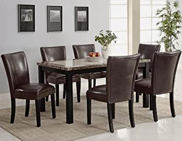 7pc Dining Table and Brown Parson Chairs Set in Deep Cappuccino Finish