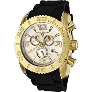Mens 20067-YG-02 Commander Collection Chronograph Yellow Gold Black Rubber Watch