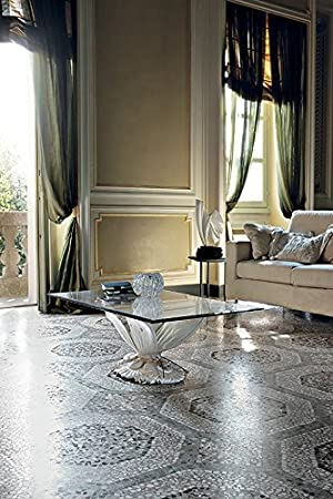 Butterfly Table–Living Room Ceramic And Glass Oval Patinato