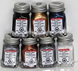 Testors Enamel Paints - 7 Metallic Color Set 2 , - 1/4 oz- Metallic Copper, Metallic Gold, Metallic Silver, Aluminum, Gloss White, Gloss Black, Arctic Blue Metallic