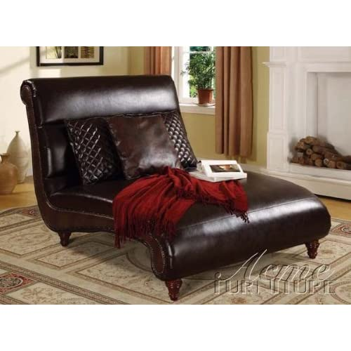 Chaise lounge with scroll design in brown bycast for Brown chaise lounge indoor