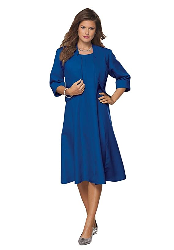 Roamans Women's Plus Size Full Bottom Fit And Flare Jacket Dress