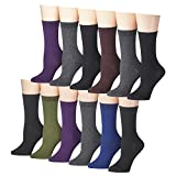 Tipi Toe Women's 6 Or 12 Pack Colorful Patterned Crew Socks (12-Pack, 1120A-12)