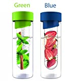 AdNArt Flavour It Glass Water Bottle with Fruit Infuser (Green & Blue)