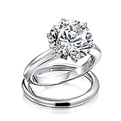 Bling Jewelry 925 Sterling Silver Round 3.5ct CZ Solitaire Engagement Wedding Ring Set