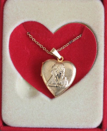Little Orphan Annie Heart Locket Pendant Necklace - Approx. 7/8