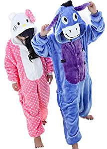Tjia Winter Kid Cosplay Hello Kitty Flannel Animal Donkey Pajamas