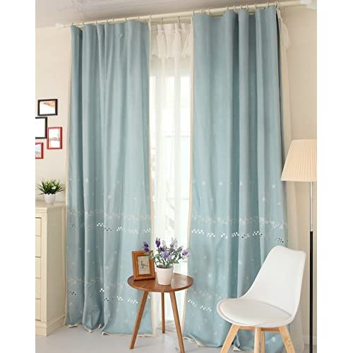 FADFAY Home Textile,Delicate Fresh Light Blue Ready Made Curtains,Elegant Flowers Embroidered Window Blinds,Fashion...