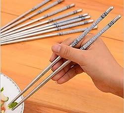 5 Pairs Printed Thread Stainless Steel Chopstick Chop Sticks