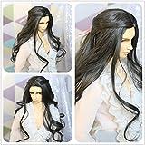 9-10 Inch 1/3 High-Temperature Wig Long Gray Black Loose Wavy Blended Boy Man Hair BJD Doll Wigs Fashion Stylish Hair (Color: 1B-T0403)
