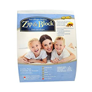 Zip and Block, Econo Block, Anti Allergen Bed Bug Proof Breathable Waterproof Combo Pack - Mattress and Pillow Encasing, White, Queen