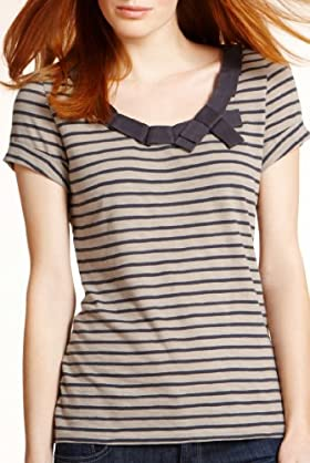 Pure Cotton Tape Neckline Stripe T-Shirt [T41-2509A-S-LCTB]