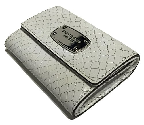 Michael Kors Flap Coin Purse Optic White Python Embossed Leather