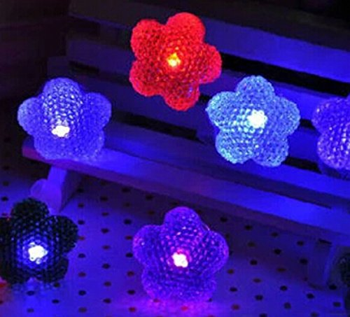 Domire 12 Pcs Plum Blossom Shape Flashing Led Ring Luminous Finger Lamp