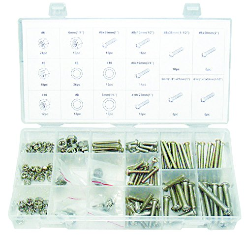 Swordfish 31920 Stainless Steel Nut Bolt & Washer Assortment, 224 Piece