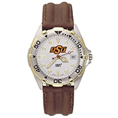 NSNSW22088P-Mens All Star Oklahoma State Leather Watch by NCAA Officially Licensed
