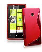 Étui Coque Souple En Silicone Pour Nokia Lumia 520 incl. protecteur d'écran S-Line Rot