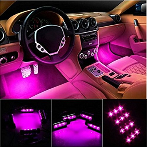 EJ 4pc. Car Interior Decoration Atmosphere Light-LED Car Interior Lighting Kit,Waterproof, Interior Atmosphere Neon Lights Strip for Car (Pink) (Pink Led Light Car compare prices)