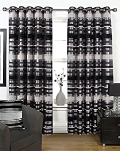 Chenille Striped Black Silver 66x90 Lined Ring Top Curtains #ortem *rap* from Curtains