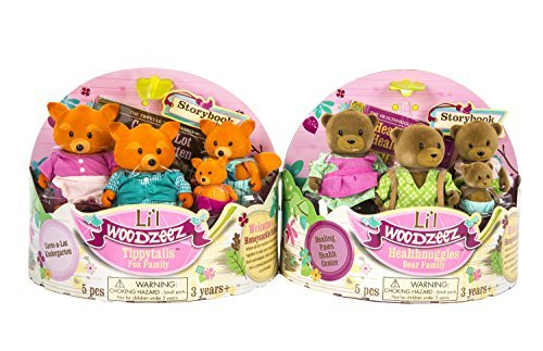 Maven Gifts: Lil Woodzeez 2-Pack Bundle - Healthnuggles Bear Family with Tippytails Fox Family - Ages 3+