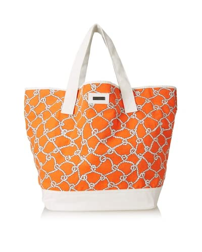 Julie Brown Women's Jenna Tote & Cosmetic Bag Bundle, Coral Turtle Bay As You See