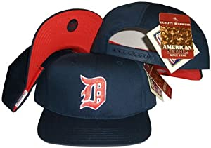Detroit Tigers Navy Snapback Adjustable Plastic Snap Back Hat Cap by