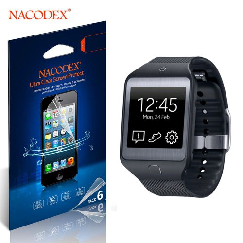 Nacodex® 6X - Samsung Gear 2 R-380 - Hd Clear Screen Protector Film R380 Neo Lcd Cover Guard Shield [ 6Pcs Screen Protectors + 2X Cleaning Cloth + 1X Smoothing Card]