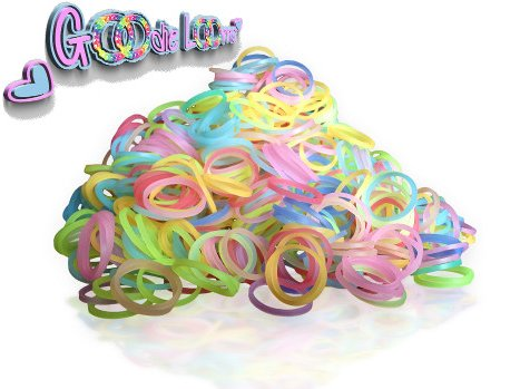 GOODIE LOOMS-Rainbow Loom Bands Refills-Glow in the Dark PREMIUM Loom Bands Refill Bag**1000+ Glow In The Dark Rubber Bands, 48 S-Clips, 30% OFF LIMITED TIME ONLY! Money Back Guarantee if Not Satisfied