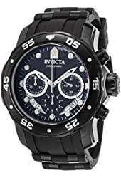 Invicta Men's 'Pro Diver' Quartz Stainless Steel and Silicone Automatic Watch, Color:Black (Model: 21930)