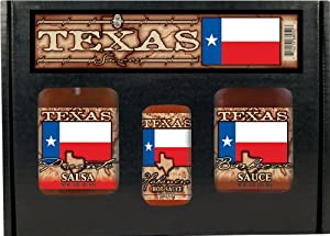 Texas Flag Gift Set Salsa Bbq Hs Or Steak Sauce In Box W Handle 3pk by Hot Sauce Harry's