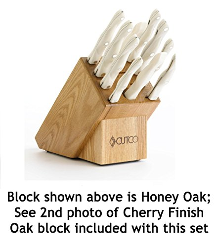 CUTCO Model 1801 Homemaker Set with White (Pearl) Handles and Cherry Oak Knife Block...............10 High Carbon Stainless knives & forks in factory-sealed plastic bags............#1741 Cherry Oak knife block, #82 Sharpener, and 10