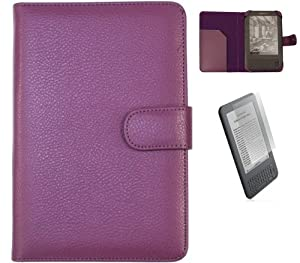 """iTALKonline PURPLE Executive Wallet Case Cover Shield Slot and LCD Screen Protector with MicroFibre Cleaning Cloth for Amazon Kindle 3 Global Wireless 3G 6"""""""