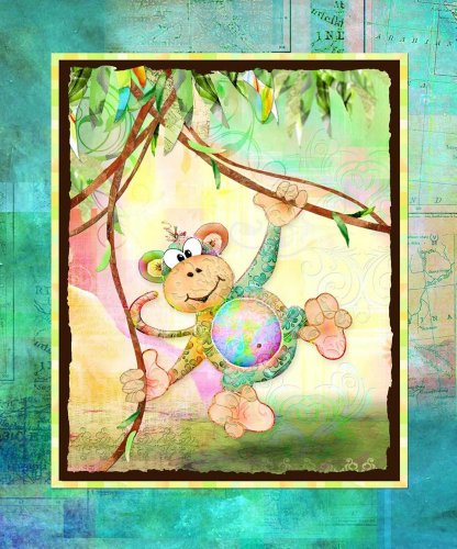 The Kids Room Monkey with Map Border Rectangle Wall Plaque