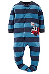 Carters Baby Boys Rescue Firetruck Footed Pajamas - navy/multi, 12 months