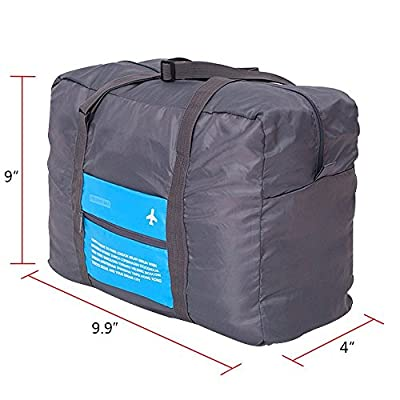 GINIA Waterproof Nylon Foldaway Storage/Duffel Bag For Travel, Camping, Sports Gear or Gym - Large Capacity Lightweight Trolley/Tote Bag, Can Attach on the Handle of Suitcase & Luggage, Blue Color