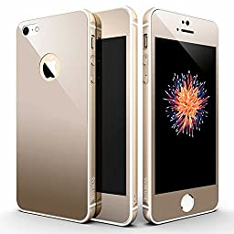 iPhone SE Case Gold, Roybens [Champagne Gold] Rubber Inner Surface Metal Bumper + Colored Gold Front and Back Tempered Glass Screen Protector for Apple iPhone SE (2016) & 5s (2013)