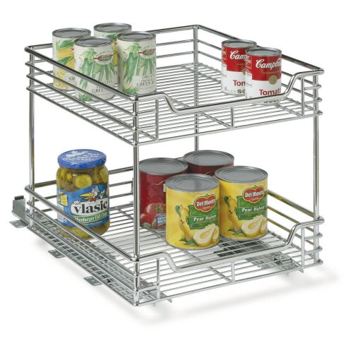 Household Essentials Two-Tier Basket Sliding Cabinet Organizer, Chrome, 14-1/2-Inch (Household Essentials Gift compare prices)