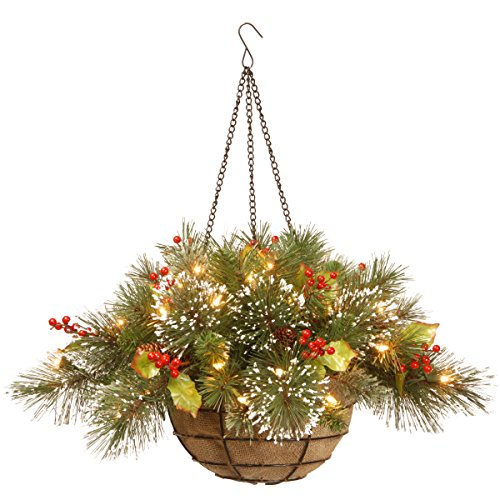 hanging basket with cones and lights - Christmas Basket Decorations